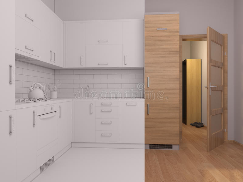 colagem do visualização 3D da cozinha do design de interiores ilustração royalty free