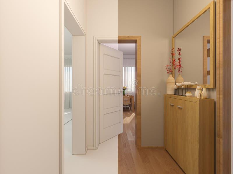 colagem do visualização 3D do salão de entrada do design de interiores ilustração royalty free