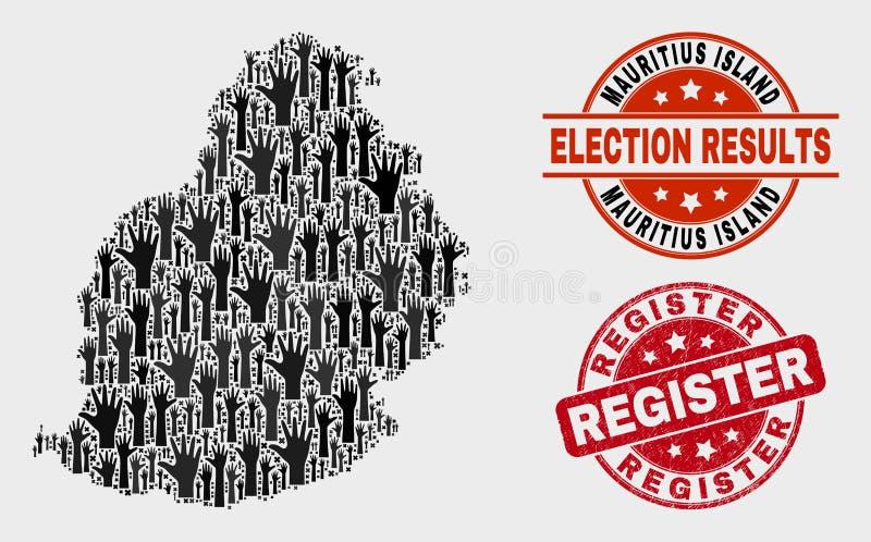 Colagem do voto Mauritius Island Map e do selo riscado do registro ilustração royalty free