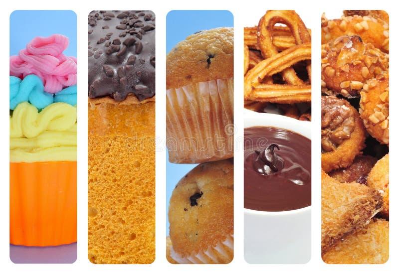 Colagem doce do alimento fotografia de stock