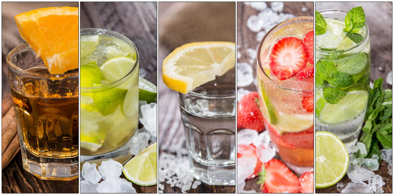Colagem dos cocktail imagens de stock