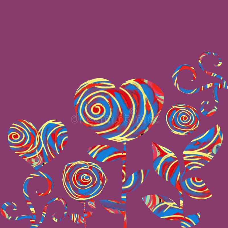 Colagem dos corações e das flores em um fundo roxo ilustração royalty free