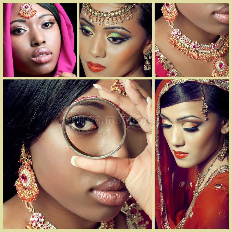 Colagem dos diversos imagens asiáticas da forma e da beleza fotografia de stock royalty free