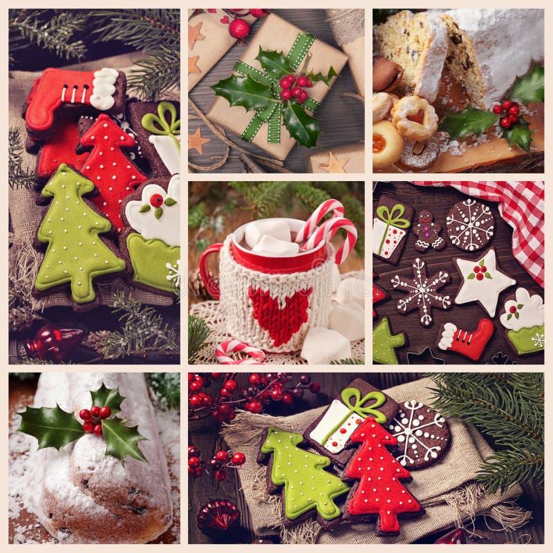 Colagem dos doces do Natal imagens de stock royalty free