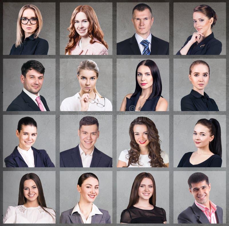 Colagem dos executivos no quadrado foto de stock