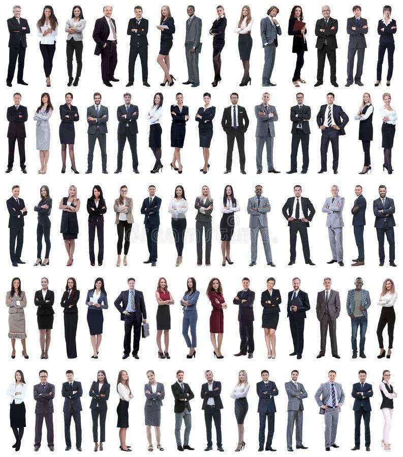 Colagem dos executivos novos que estão em seguido imagem de stock