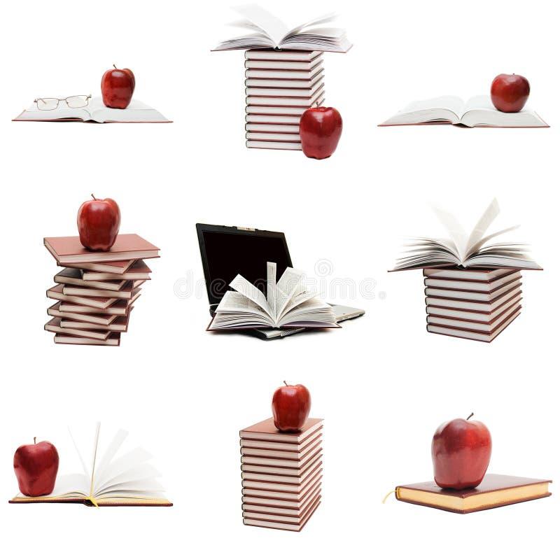 Colagem dos livros e de uma maçã fotos de stock royalty free
