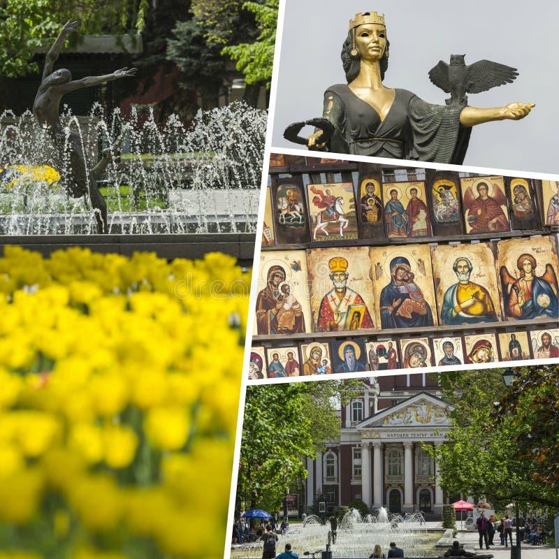 Colagem dos lugares os mais bonitos e os mais excitantes em Sófia - Bul foto de stock royalty free