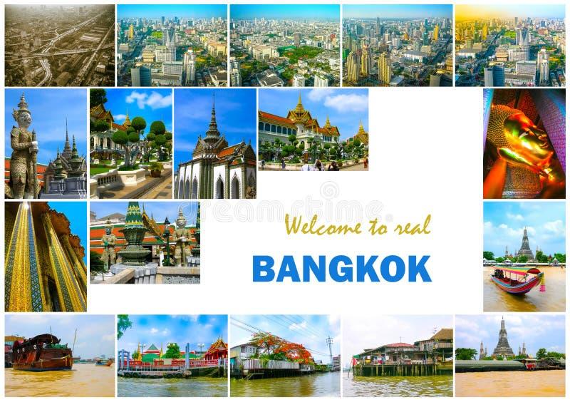Colagem dos marcos de Banguecoque, Tailândia imagens de stock royalty free