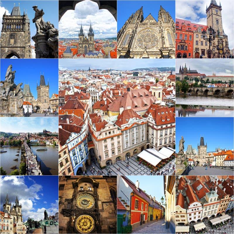 Colagem dos marcos de Praga imagem de stock