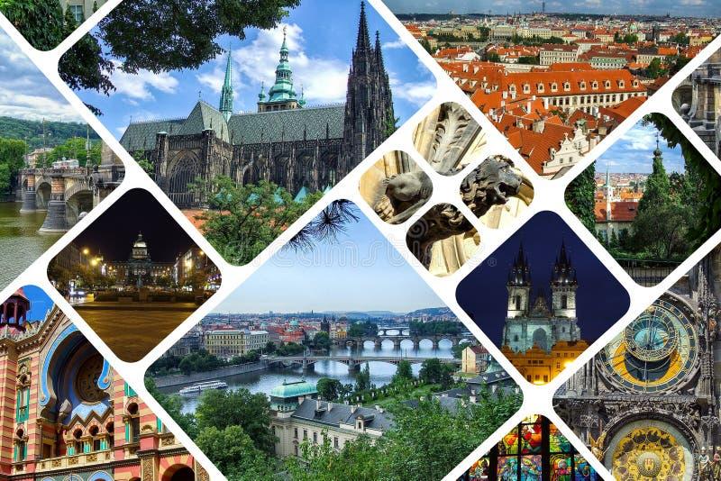 Colagem dos marcos de Praga em República Checa foto de stock