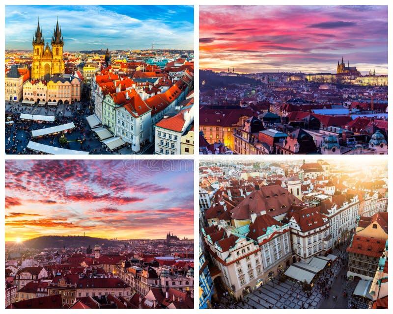 Colagem dos marcos de Praga Ponte de Charles, catedral de Sai foto de stock