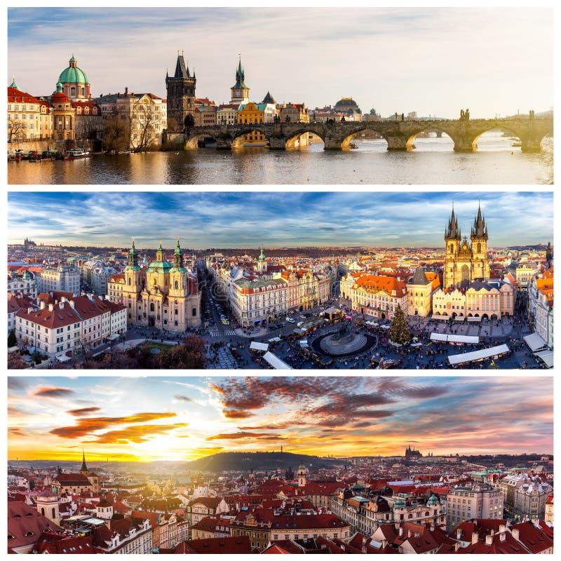 Colagem dos marcos de Praga Ponte de Charles, catedral de Sai foto de stock royalty free