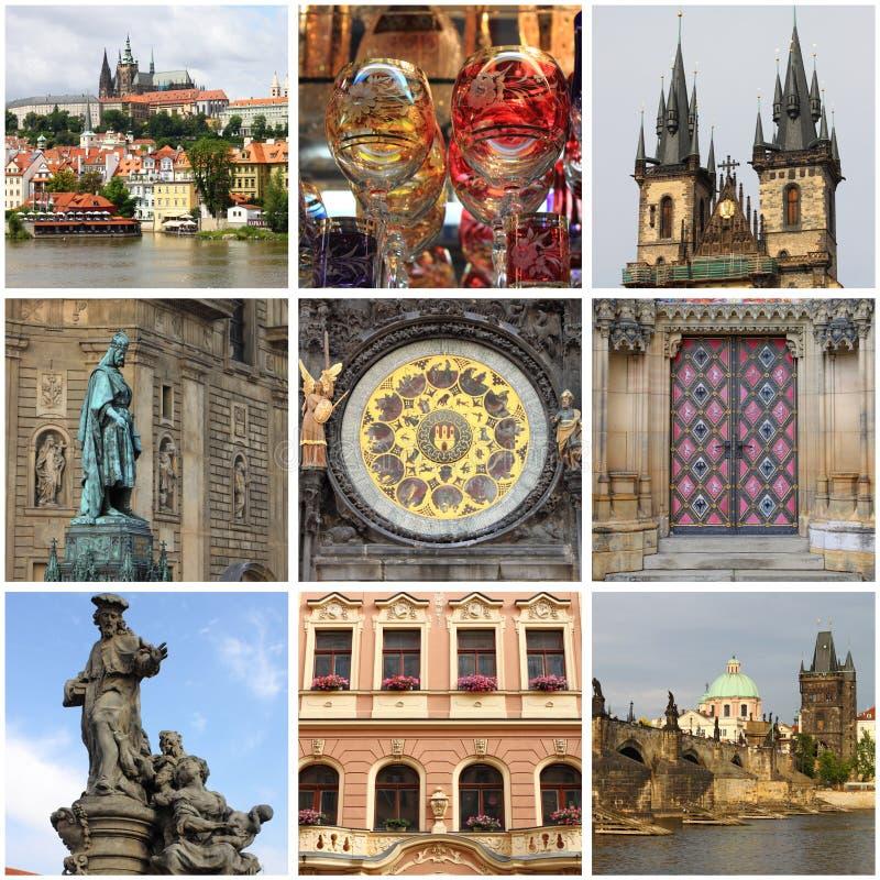 Colagem dos marcos de Praga fotos de stock