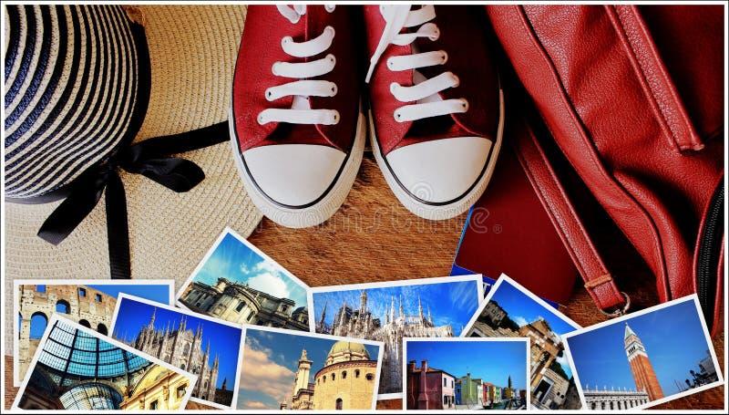 Colagem dos marcos, grupo de fotos do curso Material da mala de viagem e do turista no fundo de madeira imagem de stock