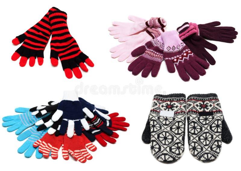 Colagem dos mittens e das luvas feitos malha fotografia de stock royalty free