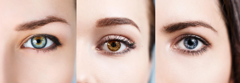 Colagem dos olhos coloridos fotografia de stock royalty free