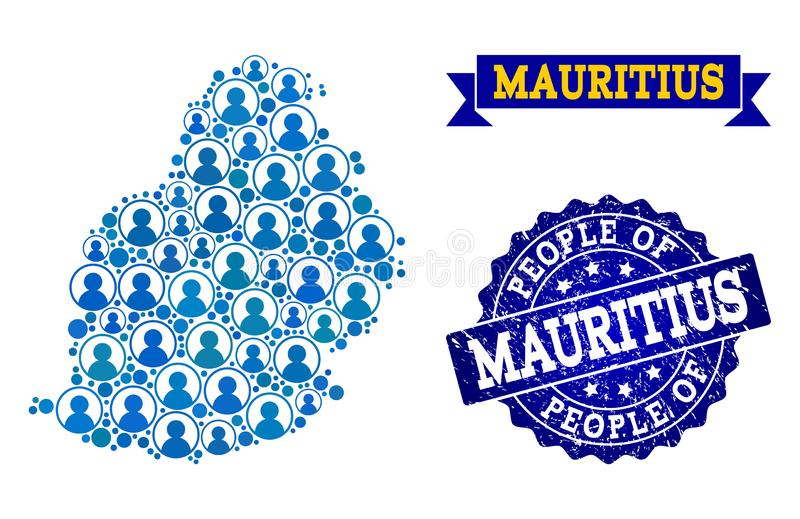 Colagem dos povos do mapa de mosaico de Mauritius Island e do selo riscado do selo ilustração royalty free