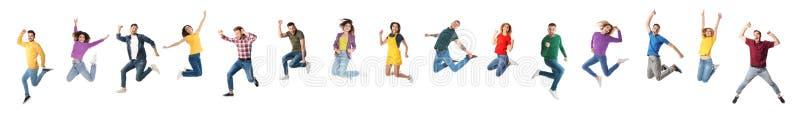 Colagem dos povos emocionais que saltam no branco Projeto da bandeira foto de stock