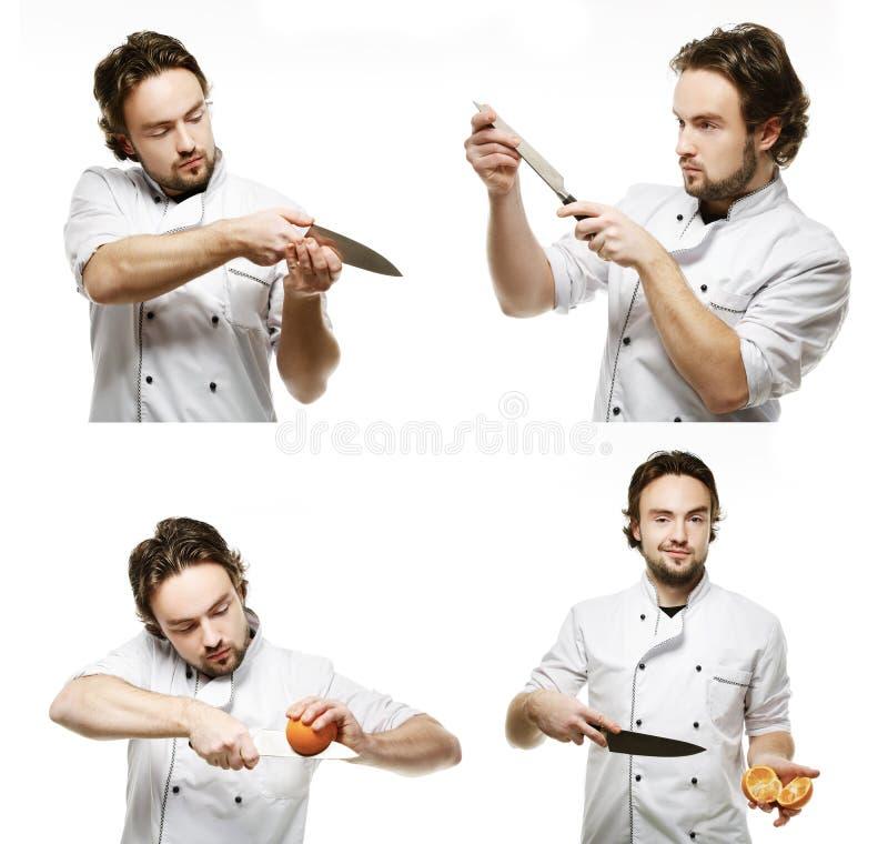 Colagem dos retratos de um uniforme vestindo do homem novo do cozinheiro com a foto de stock royalty free