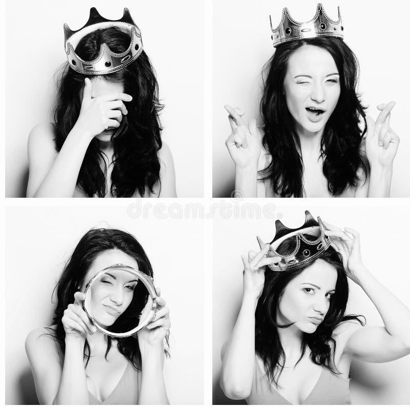 Colagem dos retratos de uma jovem mulher bonita imagem de stock royalty free