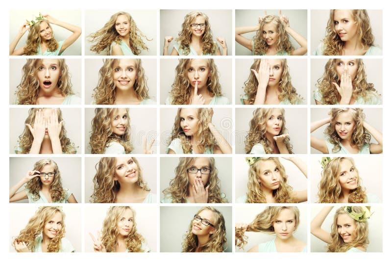 Colagem dos retratos de uma jovem mulher bonita com coroa fotos de stock