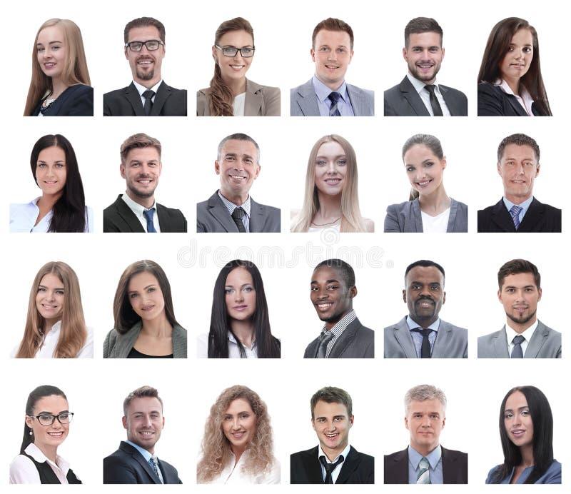Colagem dos retratos dos executivos isolados no branco foto de stock