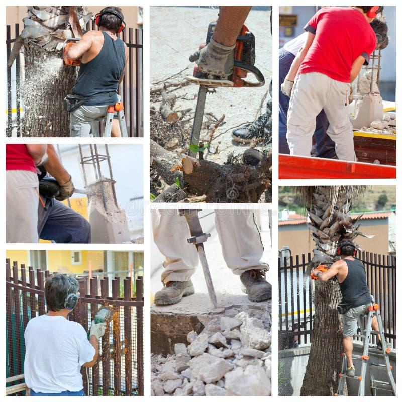 Colagem dos trabalhadores no trabalho. fotos de stock royalty free