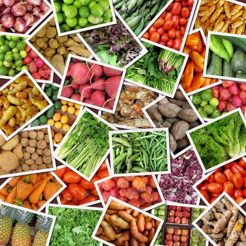 Colagem dos vegetais & das frutas foto de stock