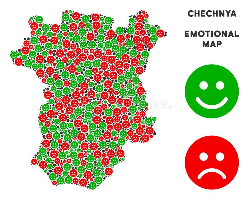 Colagem emocional do mapa de Chechnya do vetor dos smiley ilustração royalty free