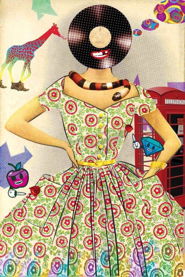 Colagem engraçada da arte contemporânea da forma do vintage ilustração royalty free