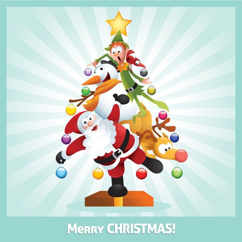 Colagem engraçada dos desenhos animados do cartão de Natal ilustração stock