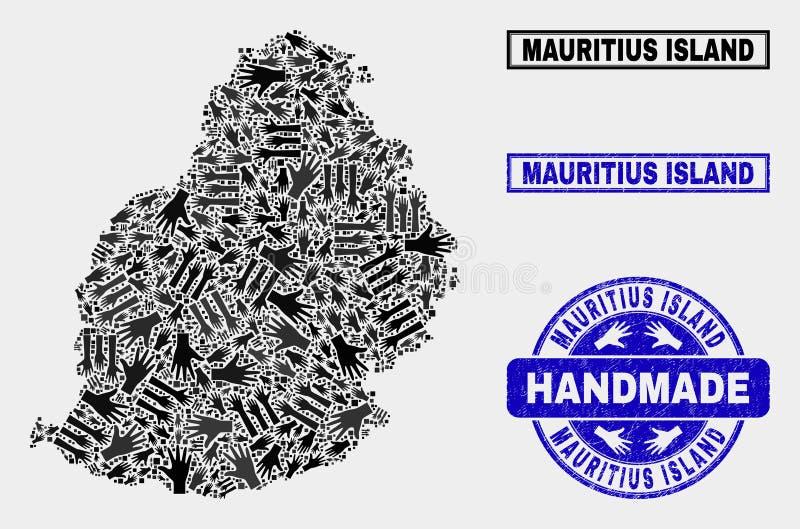 Colagem feito a mão de Mauritius Island Map e do selo do Grunge ilustração do vetor