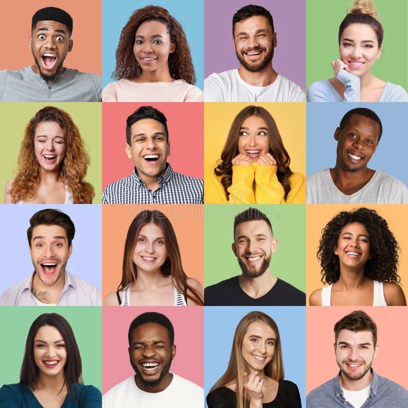 Colagem feliz das caras foto de stock