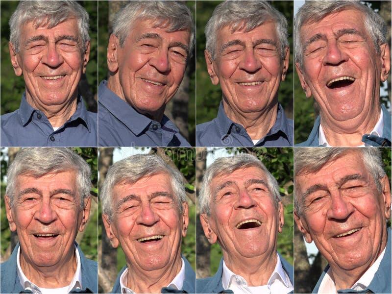 Colagem feliz do ancião fotografia de stock royalty free