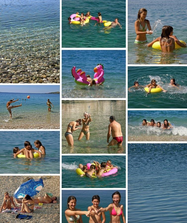 Colagem - feriados da família no mar imagem de stock royalty free