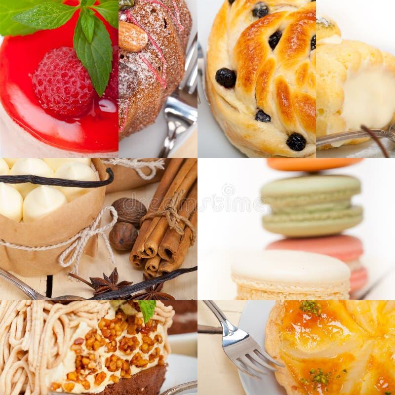 Colagem fresca do bolo da sobremesa fotografia de stock royalty free