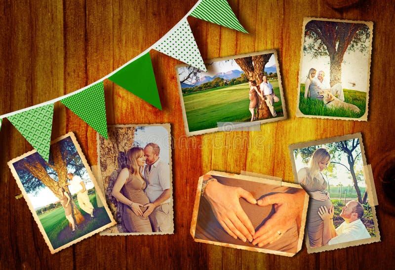 Colagem grávida dos pares foto de stock royalty free