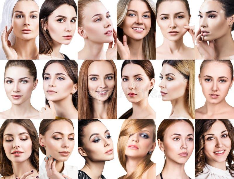 Colagem grande de mulheres bonitas diferentes foto de stock royalty free