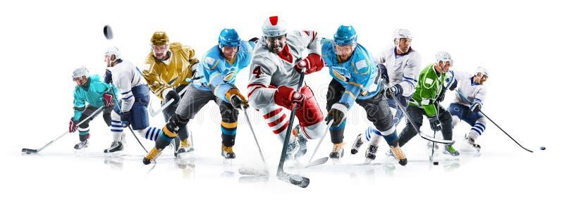 Colagem grande do h?quei em gelo com os jogadores profissionais no fundo branco foto de stock royalty free