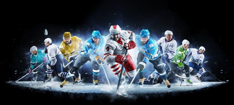 Colagem grande do h?quei em gelo com os jogadores profissionais no fundo preto fotografia de stock