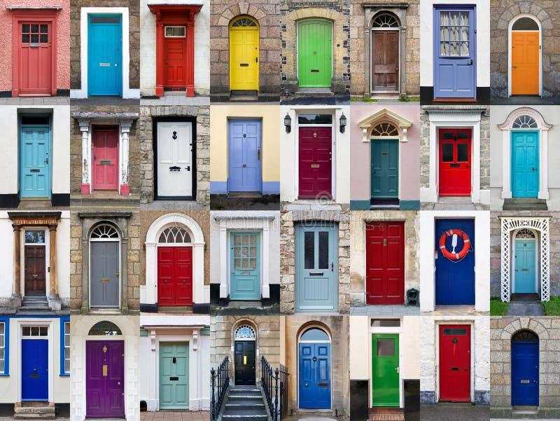colagem horizontal de 32 portas da rua fotografia de stock royalty free
