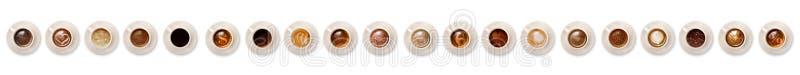 Colagem horizontal do café italiano em um fundo branco fotos de stock royalty free
