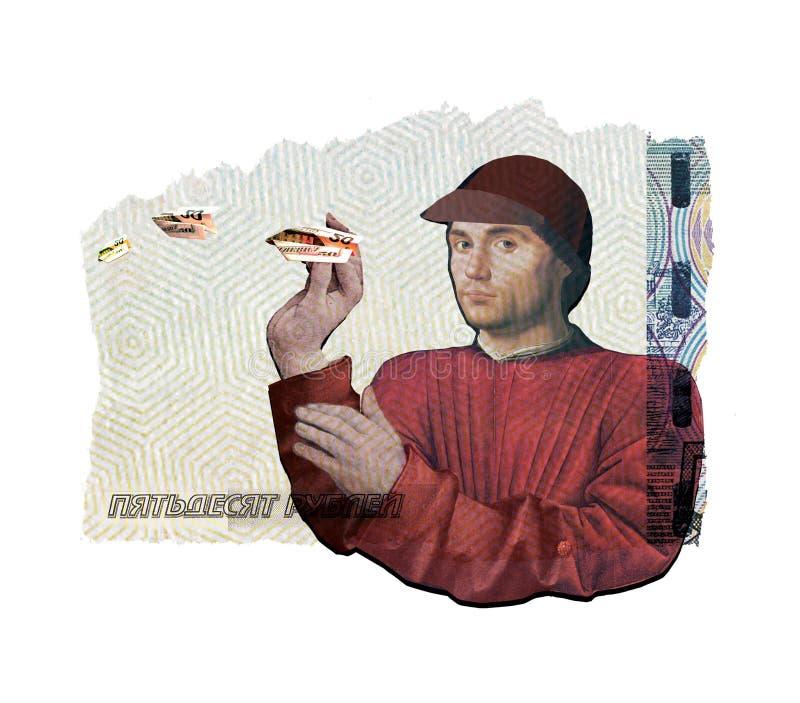 Colagem ilustrativa Um homem novo corre, lan?a avi?es fora do dinheiro Na perspectiva de uma colagem de diferente ilustração stock