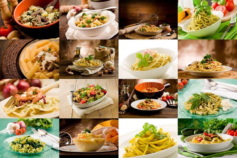 Colagem italiana da massa imagem de stock