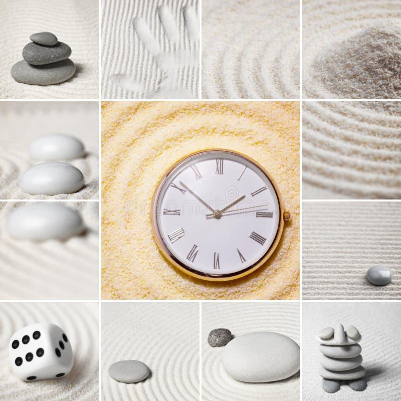 Colagem - jardim japonês das pedras. Tempo. fotos de stock royalty free