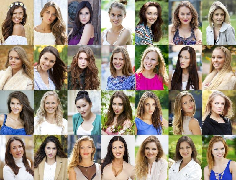 Colagem, jovens mulheres felizes fotografia de stock royalty free