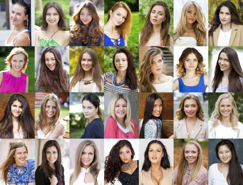 Colagem, jovens mulheres felizes foto de stock