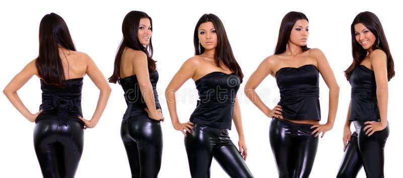 Colagem - jovens mulheres felizes, isoladas no branco fotografia de stock