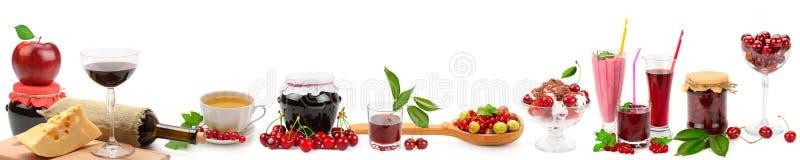 Colagem larga panorâmico para o skinali Fruto, bebidas, alimento saudável imagem de stock royalty free